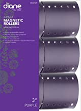 Diane Magnetic Hair Roller, Purple, 3 Inch, Strong material, unbreakable material, curls, perm, holds hair in place, perfect for any hair style, sanitary, washable, 3, Static electricity holds hair in place, Wrap faster and easier, Fast and easy to clean, Use picks, pins or clips to hold hair