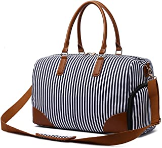 Gimay Weekend Travel Bag Women Overnight Duffle Canvas Tote Bags (Blue)