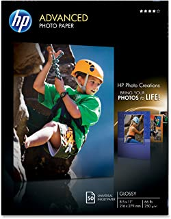HP Glossy Advanced Photo Paper for Inkjet, 8.5 x 11 Inches, 50 Sheets (Q7853A)
