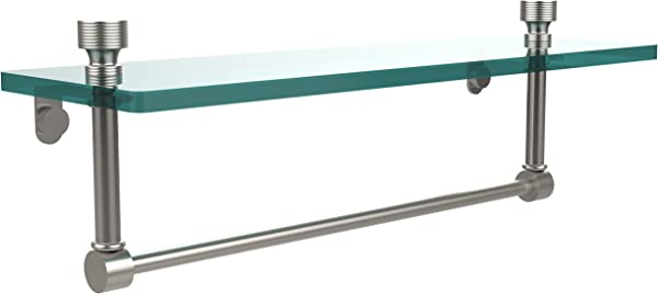 Allied Brass FT 1 16TB SN Foxtrot 16 Inch Glass Vanity Shelf With Integrated Towel Bar Satin Nickel