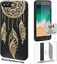 iProductsUS Wood Phone Case Compatible with iPhone 8,7,6/6S and Screen Protector-Real Bamboo Cases Engraved Dreamcatcher, Built-in Metal Plate, TPU Rubber Protective Covers (4.7 inch)
