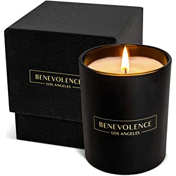 Premium Oud Wood Hand Poured Scented Candles, 8 oz | 45 Hour Burn, Long Lasting, Highly Scented, All Natural Soy Candles | Relaxing Aromatherapy Candle with Matte Black Glass Gift Box