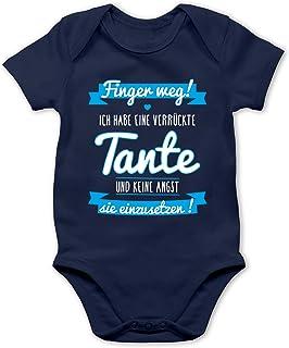 Shirtracer Sprüche Baby - Ich Habe eine verrückte Tante Blau - Baby Body Kurzarm für Jungen und Mädchen
