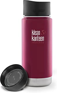 Klean Kanteen Wide Mouth Insulated Stainless Steel Bottle with 2 Leakproof Caps (Loop Cap and Cafe Cap 2.0)
