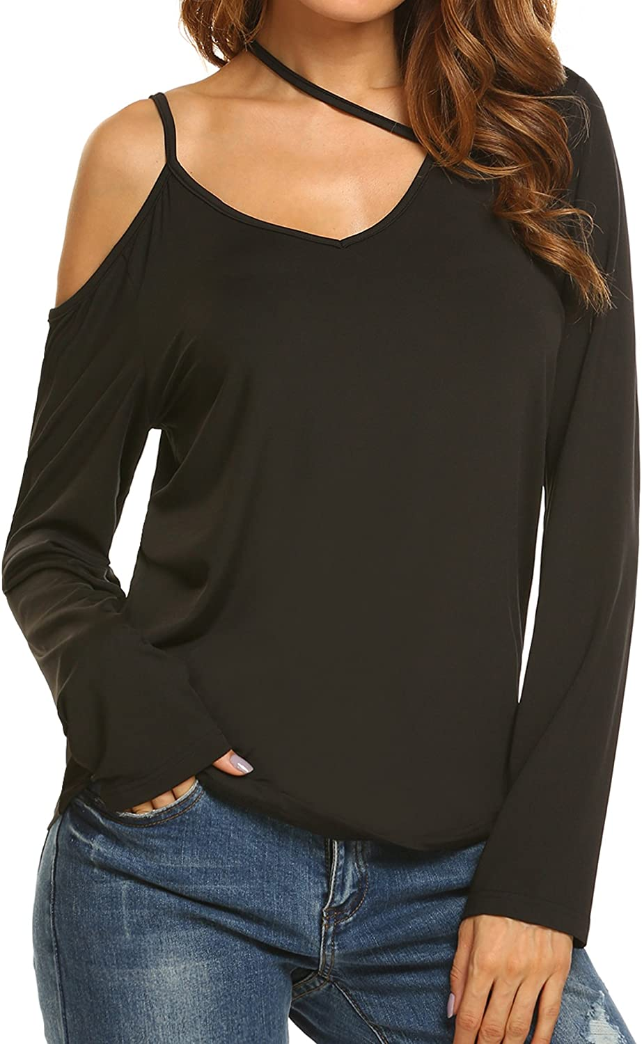 Beautyuu Women Casual Cold Shoulder Solid Slim Sexy Blouse TShirt Tops
