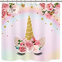 Unicorn Shower Curtain Pink Animals Cartoon Kids Girls Floral Colorful Oil Painting Decor Fabric Set Polyester Waterproof ...