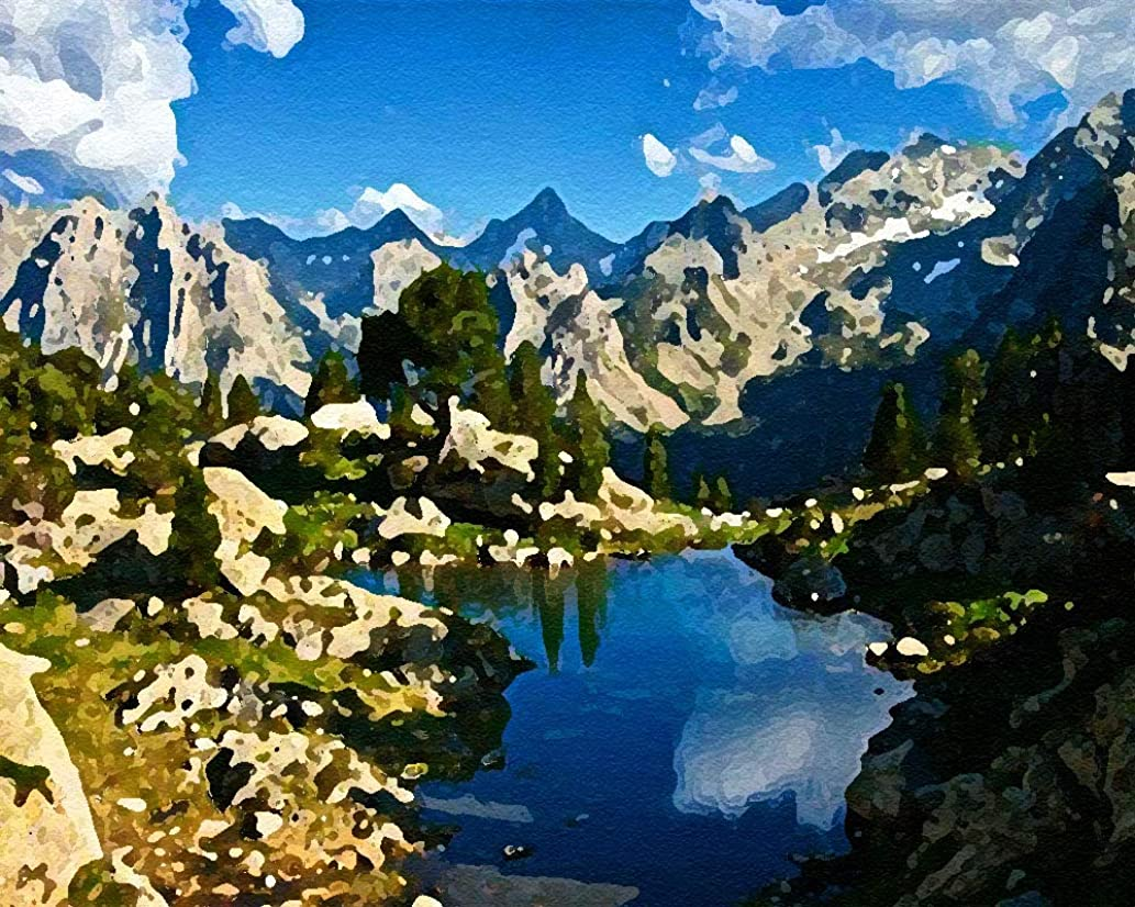 DIY Oil Painting Paint by Number Kit for Kids Adults Beginner 16x20 inch -Mountain Surrounded by Water,Drawing with Brushes Christmas Decor Decorations Gifts (Frame)
