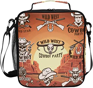 ADONINELP Lunch Bag Square Set Wild West Emblems On Background 3D Printed Picnic Bag Insulated Cooler Tote Box Meal Holder Containers Lunchbox Case