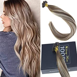 Sunny 18inch Pre Bonded U Tip Human Hair Extensions,Balayage Medium Brown Ombre Blonde Mixed Brown U Tip Karatin Hair Extensions Human Hair for Woman 1G/S 50G