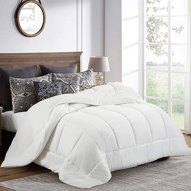 Balichun Queen Comforter 88 By 88 Inches White Down Alternative Comforters Soft Quilted Duvet Insert With Corner Tabs Luxury Hotel Collection 1800 Series All Season