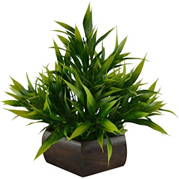 Planters Artificial Bamboo Leaves Plant with Wood Hexagon Pot (Pack of 1)