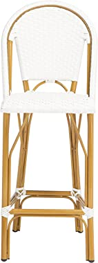 Safavieh PAT4008C Outdoor Collection Ford White French Bistro 30-inch Bstro Bar Stool