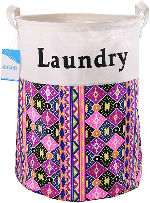 Jacone 19 7 Large Laundry Basket Foldable Cylindric Waterproof Canvas Fabric Laundry Hamper Storage Basket With Handles Decorative And Convenient For Kids Bedroom D