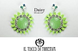 Orecchini verdi fiore cristallo swarovski Daisy - Realizzati a Mano - Made in Italy-HandaMade-Regali ragazza-Artigianale-i...