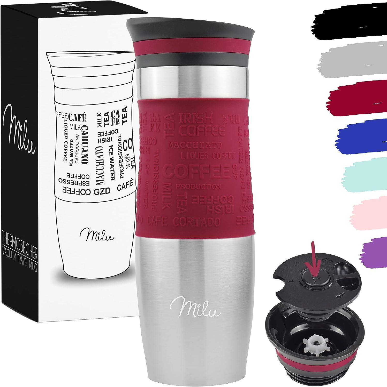 Milu Termo Taza 370ml, 450ml - Vaso Termico de Viaje - Café para Llevar - Taza de Viaje - Taza de acero inoxidable para beber - con aislamiento de doble pared (450ml, Rojo)