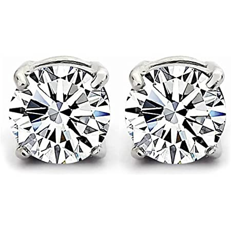 Orecchini a uomini e donne zircone cristallo round argento sterling 925/1000