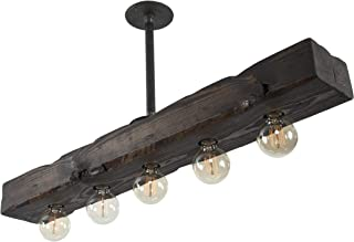 West Ninth Vintage Fayette Recessed Wood Beam Chandelier - Indoor Downlight for Farmhouse Home Decor - Kitchen Island, Bar, Dining Room, Pool Table