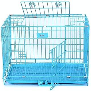 RvPaws Double Door Folding Metal Dog Cage with Paw Protector, for Medium Dogs, Large, Blue, 36 Inch