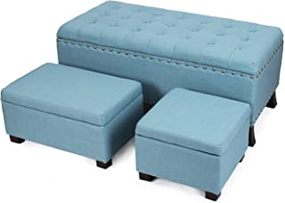 Asense Fabric Rectangle Button Tufted Lift Top Storage Ottoman Bench, Footstool with Solid Wood Legs, Nailhead Trim, Blue