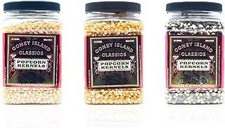 Coney Island Classics Premium Popcorn Kernels Three 28oz Jar Containers Pearl White Yellow Gold Baby Blue Bulk (84 oz)