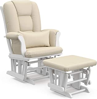 Storkcraft Tuscany Custom Glider and Ottoman with Free Lumbar Pillow, White/Beige