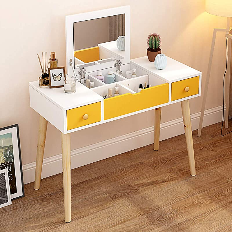 Dressing Table Multifunctional Makeup Table Wood Vanity Set With Flip Top Mirror Writing Desk With 2 Drawers 5 Removable Divider Easy Assembly