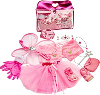 Toiijoy Girls Princess Dress up Set 15Pcs Fairy Princess Role Play Costume Set with Carry Bag for Toddler Kids Ages 3-6yrs