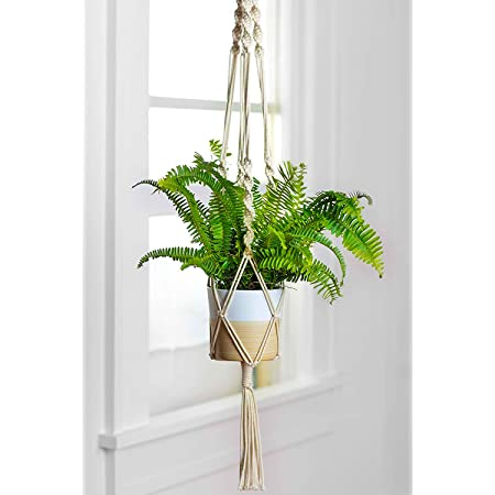 ecofynd Cotton Flower Pot Holder, Ivory, 39 inches, Pack of 1