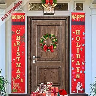 Merry Christmas Banner, CHERIEY 2019 UpgradedChristmas Porch Sign   Xmas Decoration HangingBanner   Happy Holiday Door Bannersfor Home Wall Garden PartyIndoorOutdoor Decor