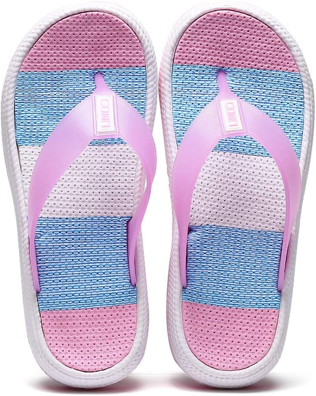 Summer Beach Sandals for Women Rainbow Stripe Wedge Platform Slippers Thongs Med Heel Casual Flip Flops