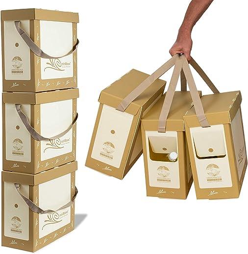 miniMaxxx Mülltrennsystem Mülleimer 3-Fach mit Tragegriff und Deckel stapelbar 60L – 3x20L Abfalleimer aus robusten Polypropylen (Braun)