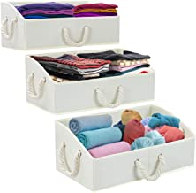 Sorbus Trapezoid Storage Bin Box Basket Set Foldable with Cotton Rope Carry Handles - Great for Closet, Clothes, Linens, T...