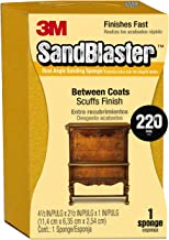 3M SandBlaster 9565 Large Between Coats Dual Angle Sanding Sponge, 2.5 in by 4.5 in by 1 in, 220-Grit, Clear