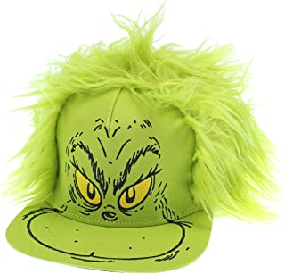 Dr. Seuss Hat Grinch Fur Hair Costume Snapback Cap Green