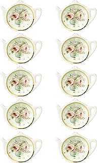White Porcelain Ceramic with Flower Trim Gold Rim Teapot-Shaped Tea Bag Holder Tea Bag Coasters, Spoon Rests; Classic Tea Saucer Seasoning Dish Set …