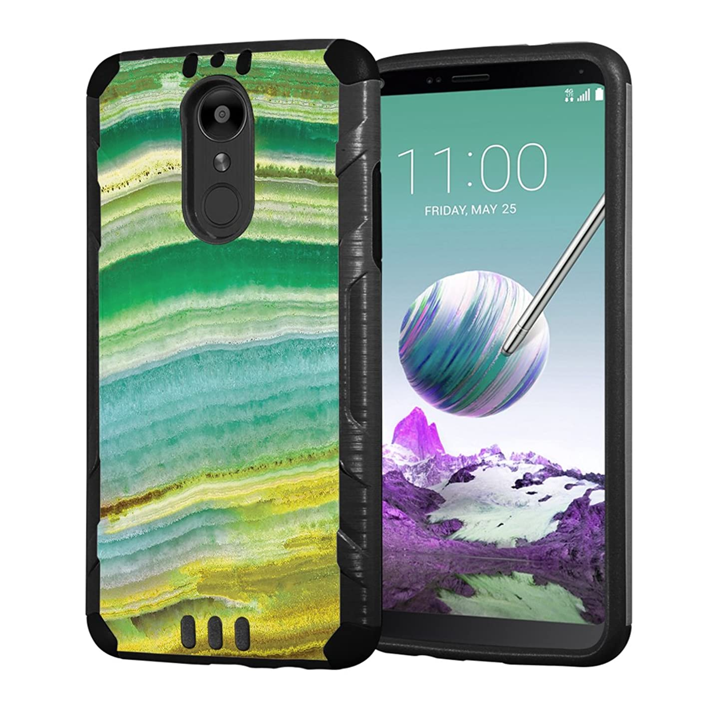Moriko Case Compatible with LG Stylo 4 Plus, LG Stylo 4, LG Q Stylus [Armor Layer Drop Protection Slim Fashion Shockproof Black Case] for LG Stylo 4 - (Green Quartz)
