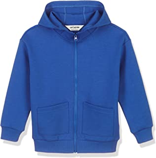 Kid Nation Kids Interlock Full Zip Drop Shoulder Hooded Sweatshirt with Patch Pockets for Boys and Girls,Age(4-12Years)