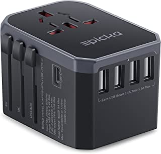 EPICKA Universal Travel Adapter One Worldwide International Wall Charger AC Plug Adaptor with 5.6A Smart Power 3.0A USB Ty...