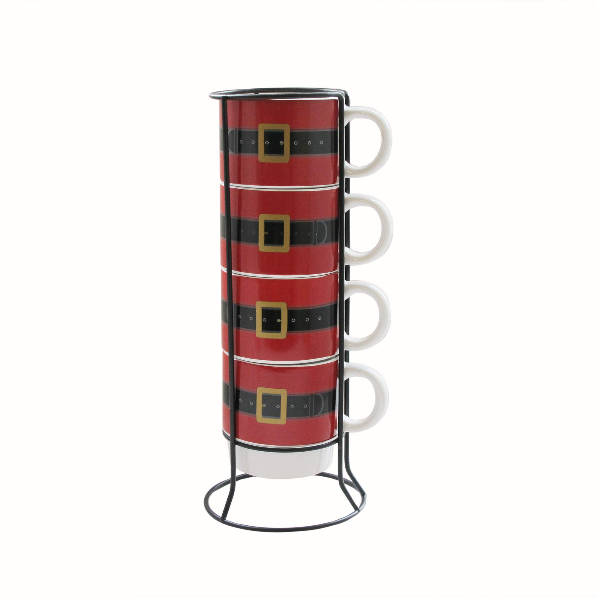 American Atelier 7429-5MRRB Ceramic Mug & Rack Set – 4 Cups & Standing Metal Rack for Kitchen Countertop, Island, or Café Display – Gift for Tea & Coffee Lovers – Holiday Design, 14 oz, Santa's Belt