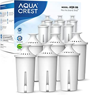 AQUA CREST NSF, TÜV SÜD Certified Pitcher Water Filter, Replacement for Brita Pitchers & Dispensers, Compatible with Brita Classic OB03, Mavea 107007, 35557, and More (Pack of 6)