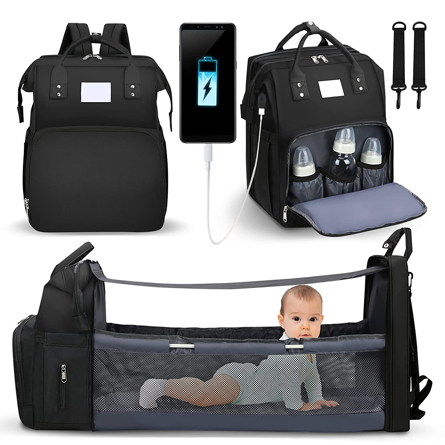 3-in-1 Diaper Bag Backpack, Diaper Bag with Changing Station, Foldable Baby Crib, Waterproof Travel Backpack with Stroller Straps,Built-in USB Charging Port & Large Capacity(Black)