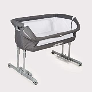 Star Kidz 2019 Intimo Deluxe Baby Bedside Bassinet - Charcoal Gray