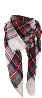 Womens Plaid Blanket Scarf Big Square Scarves Warm Tartan Checked Shawl