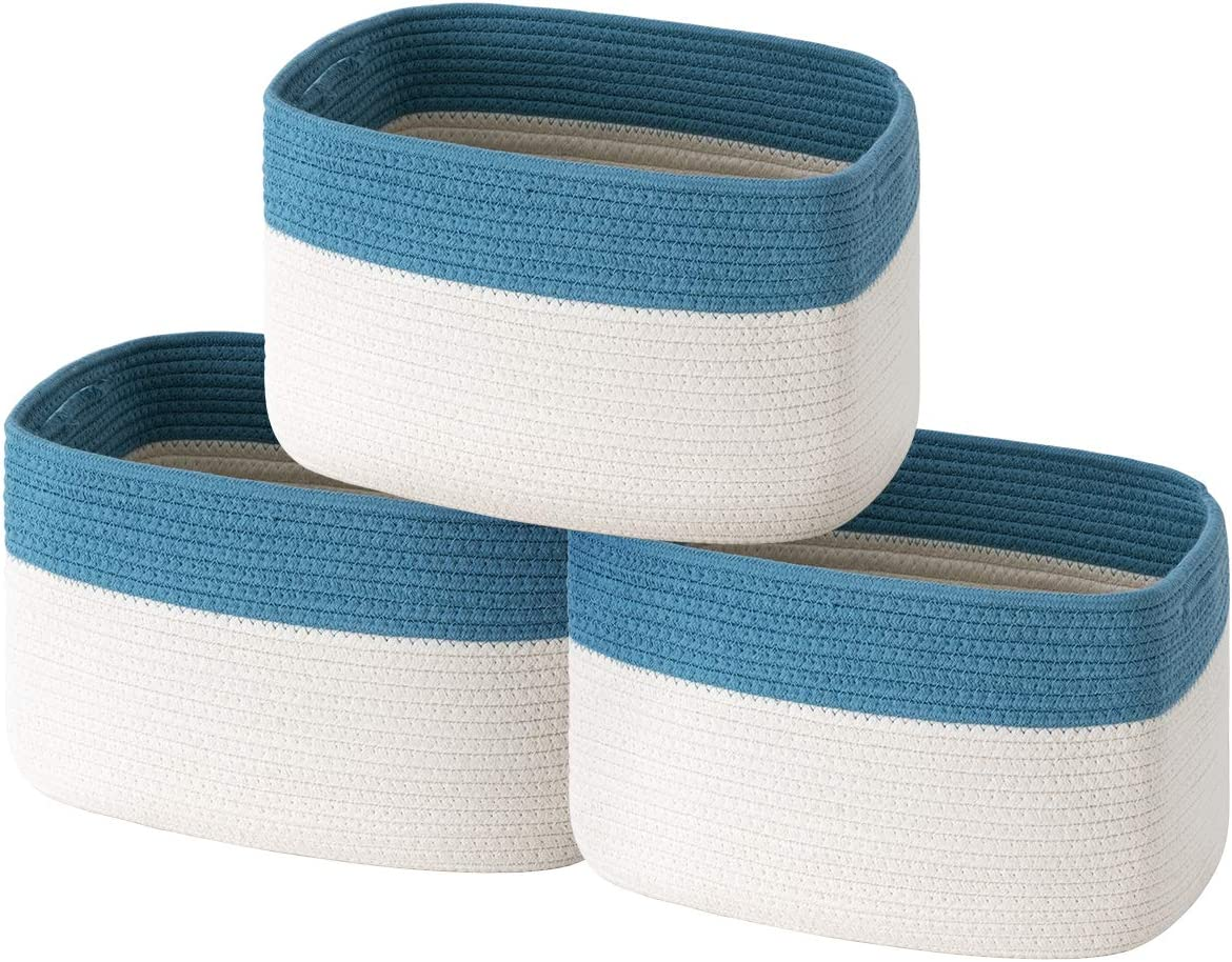 UBBCARE Cotton Over item handling ☆ Rope Storage Baskets Bin 3 of Or Set Oakland Mall Cube