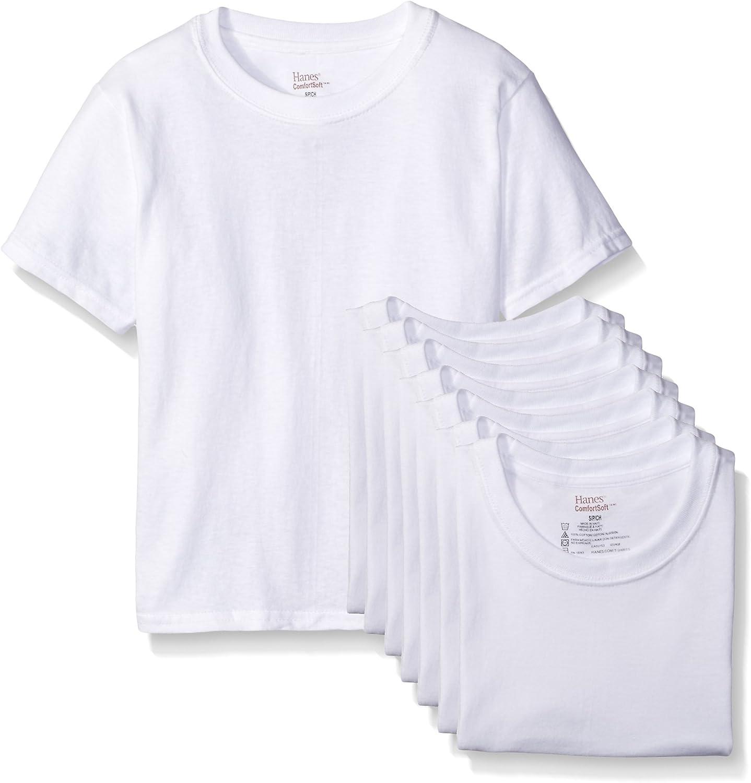 Hanes Big Boys' 8-Pack Classics Crew Undershirt