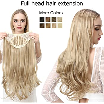Hair Extensions Clip in on for Women Full Head Long Curly Wave Synthetic U Part Hair Pieces 24 Inch Ash Medium Brown/Ash Blonde SARLA UH17&10H24B