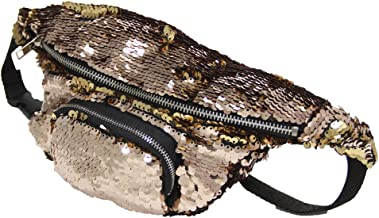 Play Tailor Mermaid Fanny Pack, Reversible Sequins Sling Bag and Waist Pack for Party, Running, Hiking, Sports (Champagne w/Gold)