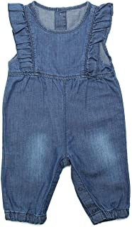 ZL MAGIC Baby & Little Girls Embroidery Soft Bib Denim Overalls Washed Jumpsuits Jeans