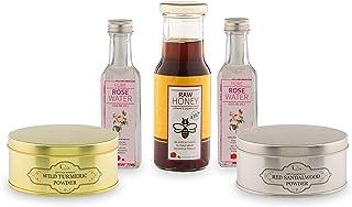 Looms & Weaves Combo Herbal Face Pack - 100 Gm Kasthuri Turmeric Powder 100 Gm Red Sandalwood Powder, 200 Ml Honey & Rose ...