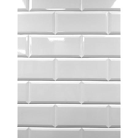 4x10 White Glossy Finish Beveled Ceramic Subway Tile Shower Walls Backsplashes (5 Piece Pack)